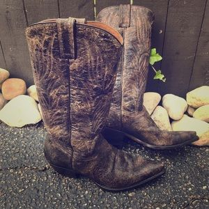 Steve Madden distressed brown leather cowboy boots